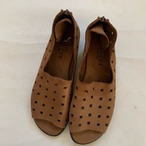 Sesto Meucci Edwina Perforated brown Leather Flat